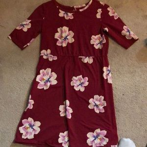 Old navy flower pattern red dress XL(14)
